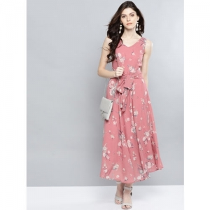 Harpa Pink Polyester Floral Printed Flared Dress
