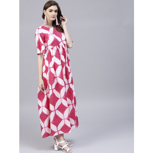 AKS Women Pink & White Printed Maxi Dress