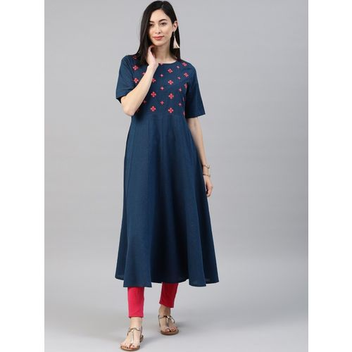 Alena Women Printed Anarkali Kurta(Dark Blue)