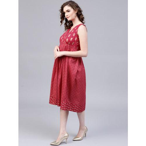 AKS Women Pink & Golden Printed Empire Dress