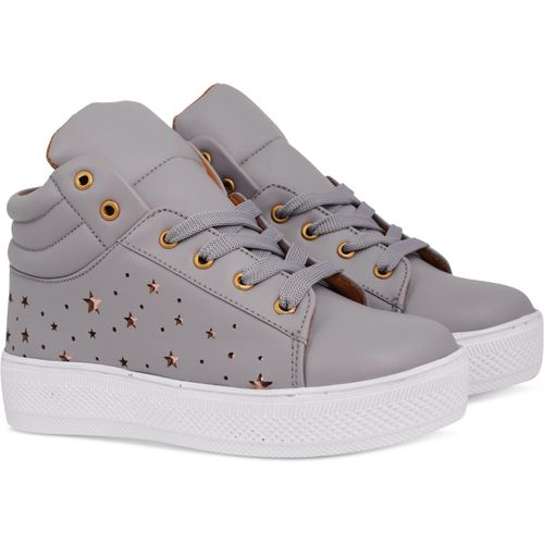 Krafter Grey Synthetic Lace Up Casual Shoes