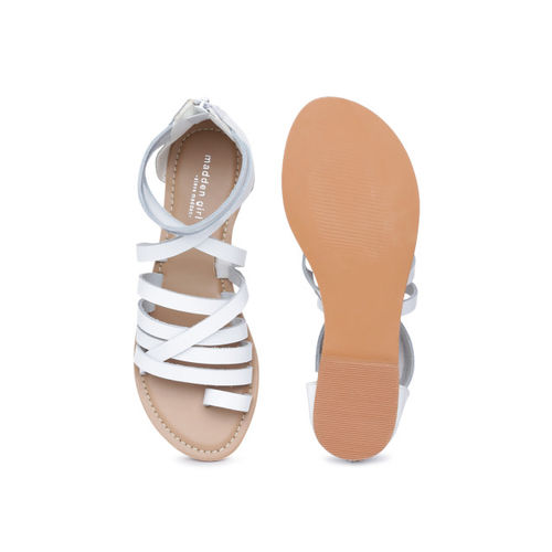 Steve Madden Women White Solid Leather Mid-Top One Toe Flats