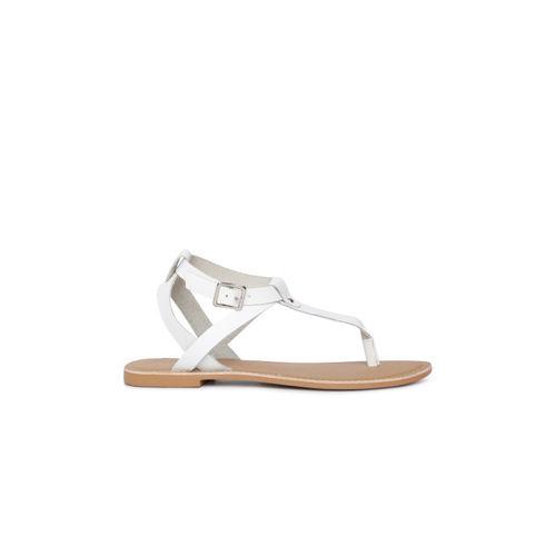 Steve Madden Women White Solid T-Strap Flats