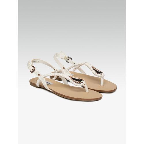Steve Madden Women White T-Strap Flats