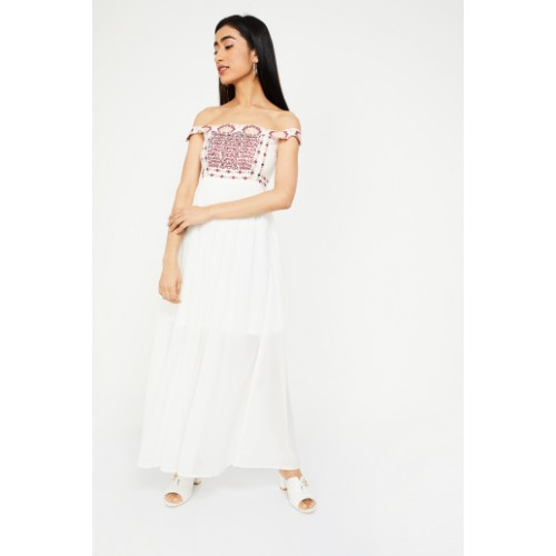 CODE by Lifestyle Women White Self Design Off-Shoulder Maxi Dress