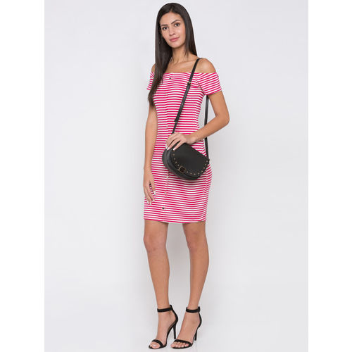 Globus Women Pink Striped Bodycon Dress