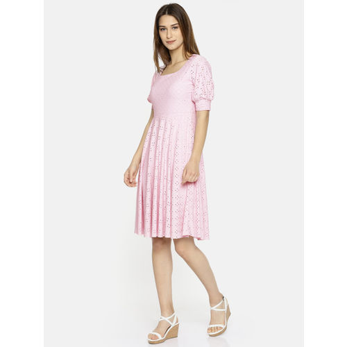 CODE by Lifestyle Women Pink Self Design Fit & Flare Dress