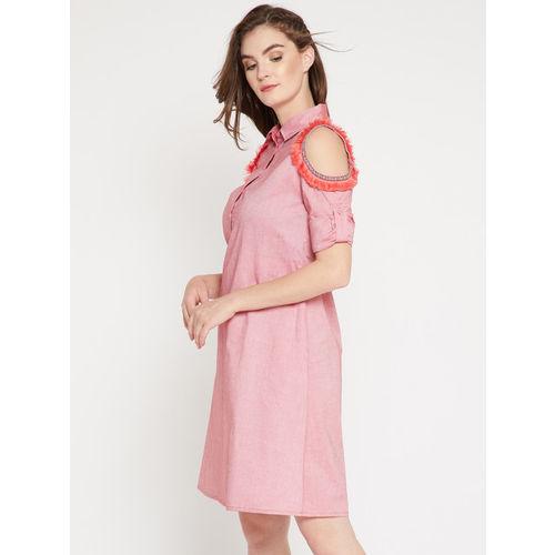 RARE Women Pink Printed Shirt Dress