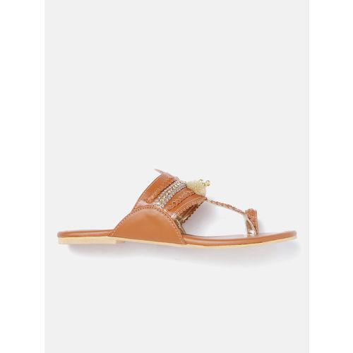 Marc Loire Women Tan Brown Braided Embellished One Toe Flats