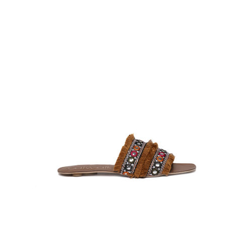 Catwalk Women Tan Brown Woven Design Open Toe Flats