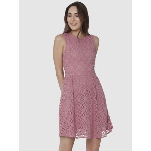 Vero Moda Women Pink Self-Design Fit & Flare Dress
