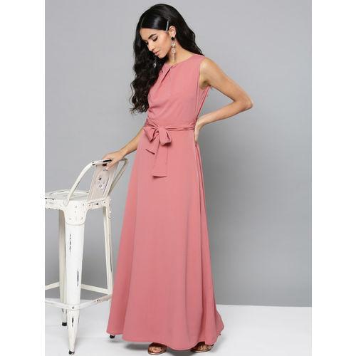 Harpa Women Dusty Pink Solid Maxi Dress
