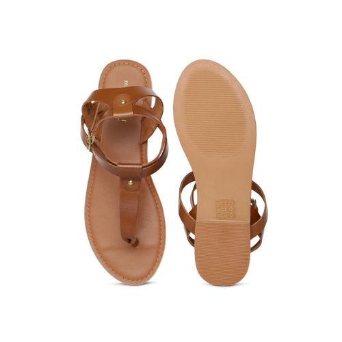 Steve Madden Women Tan Solid Leather Open Toe Flats