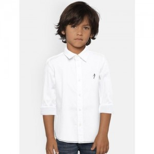 Indian Terrain Boys White Regular Fit Solid Casual Shirt