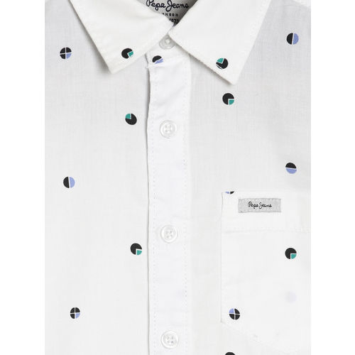 Pepe Jeans Boys White Regular Fit Printed Casual Shirt