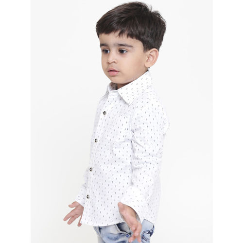 Nauti Nati Boys White Regular Fit Printed Casual Shirt