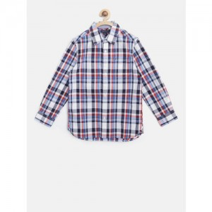 Tommy Hilfiger Boys White & Navy Blue Regular Fit Checked Casual Shirt
