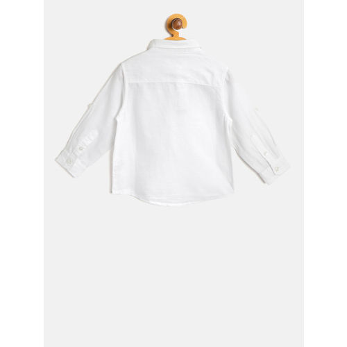 United Colors of Benetton Boys White Regular Fit Solid Casual Shirt