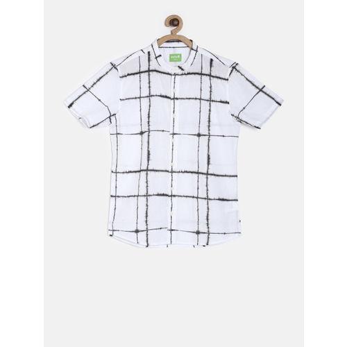Bossini Boys White & Black Regular Fit Checked Casual Shirt