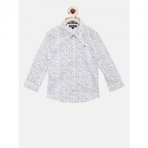 Tommy Hilfiger Boys White Standard Regular Fit Printed Casual Shirt