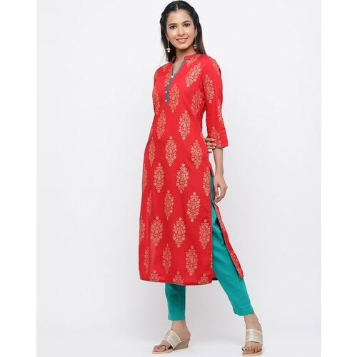 Jaipur Kurti Women Red & Golden Printed Straight Kurta