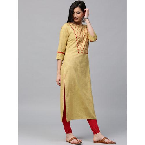 Jaipur Kurti Women Beige Embroidered Straight Kurta