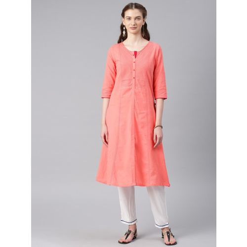 Alena Women's Solid Straight Kurta(Orange)
