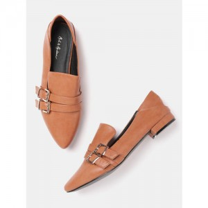 Mast & Harbour Women Tan Brown Solid Ballerinas with Buckle Detail