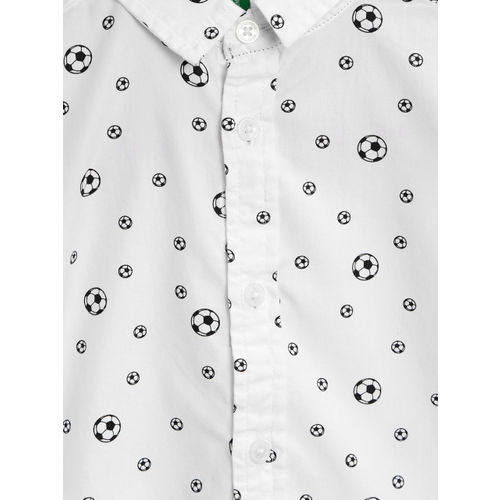 United Colors of Benetton Boys White Regular Fit Football Print Casual Shirt