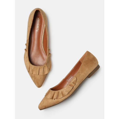 DressBerry Women Tan Brown Pointy-Toed Ballerinas