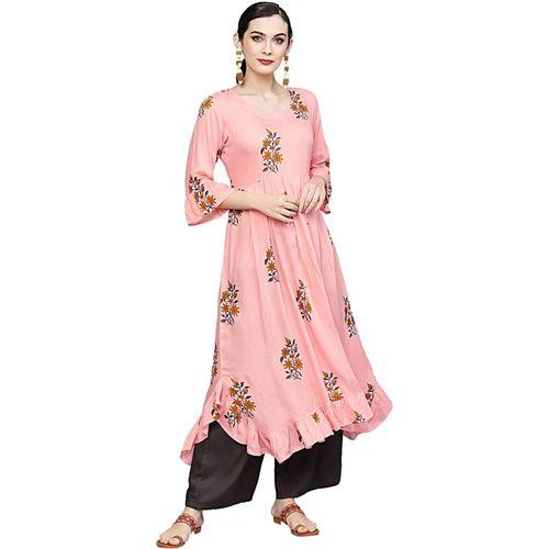 IVES Women Printed Flared Kurta(Pink)