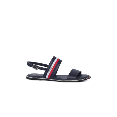 Tommy Hilfiger Women Navy Blue & Red Striped Leather Open Toe Flats