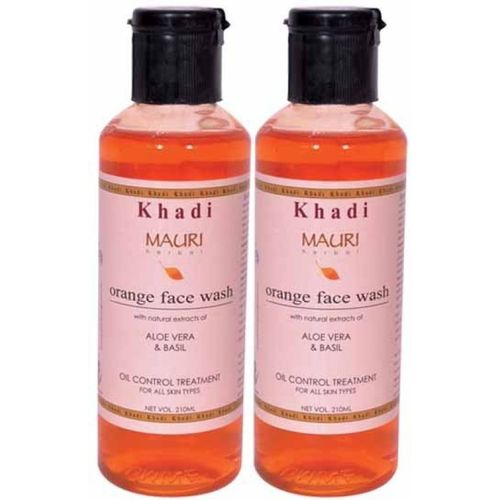 Khadi Mauri Orange Face Wash - Pack of 2 - Premium Herbal Face Wash(420 ml)