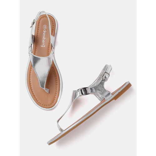 DressBerry Women Silver-Toned Solid Open Toe Flats