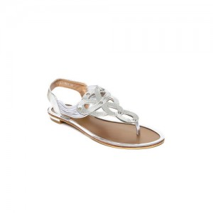 Tresmode Women Silver-Toned Solid T-Strap Flats