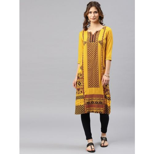 Alena Women's Embroidered Straight Kurta(Yellow)