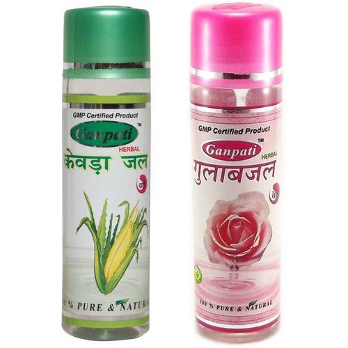 Ganpati Herbal Kewra Water 100ml & Rose Water Combo pack(200 ml)