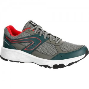 KALENJI RUN CUSHION GRIP MEN'S RUNNING SHOE - GREY/KHAKI