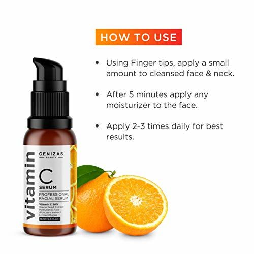 Cenizas 20% Vitamin C Facial Serum With Hyaluronic Acid - Anti Wrinkle & Anti Ageing - 15ML