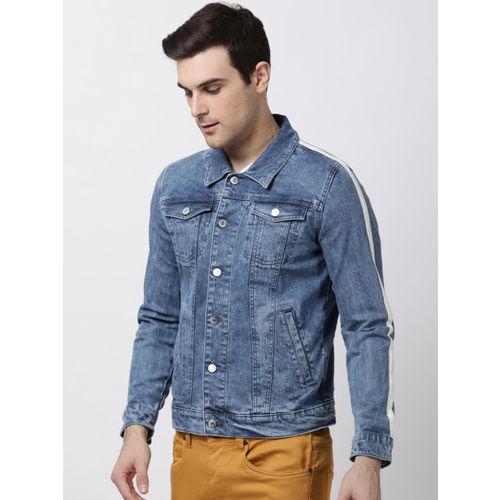 Blue Saint Men Blue Solid Denim Jacket