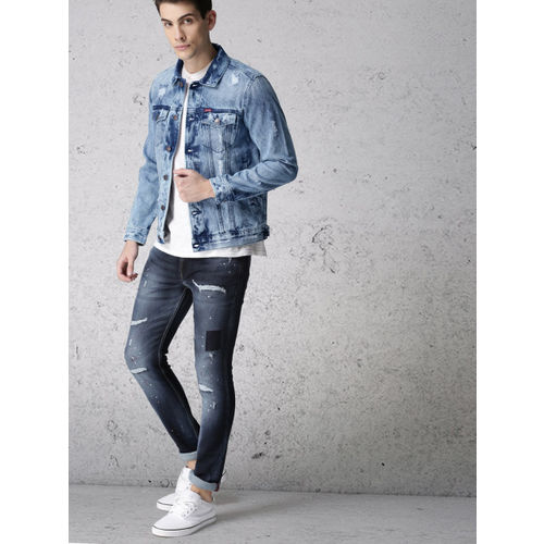 Ecko Unltd Men Blue Solid Denim Jacket