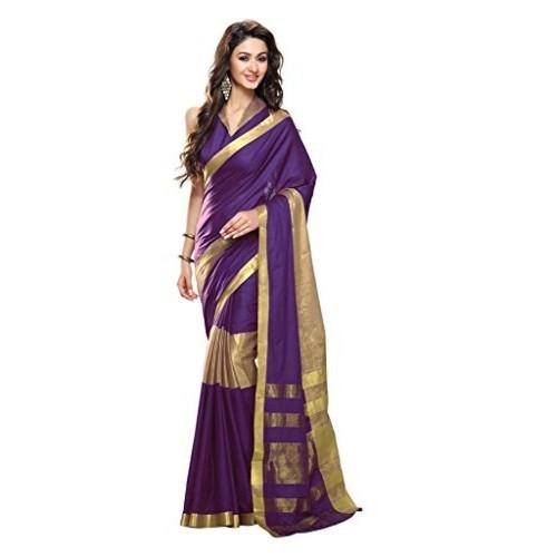 Roop Kashish Purple And Gold Cotton Saree With Zari Border