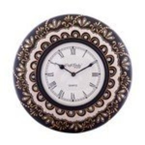 eCraftIndia Decorative Floral Ethnic Handcrafted Wooden Wall Clock (28.75 cm x 3.75 cm x 28.75 cm, Brown and White)