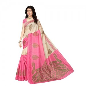 34a3bf1153 Buy Indian Beauty Multicolor Plain Cotton Silk Saree With Blouse ...