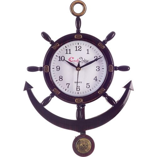 eCraftIndia Analog 33 cm X 25 cm Wall Clock(Brown, With Glass)