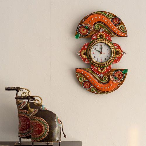 eCraftIndia Analog 38 cm X 22 cm Wall Clock(Orange, With Glass)