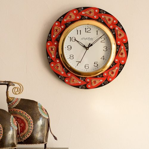 eCraftIndia Analog 30 cm X 31 cm Wall Clock(Red, With Glass)