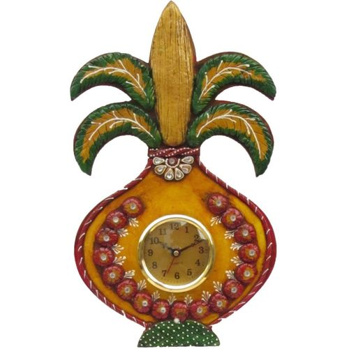 eCraftIndia Analog 38.1 cm X 22.86 cm Wall Clock(Yellow, Red, With Glass)