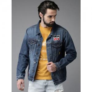 Moda Rapido Men Blue Solid Denim Jacket