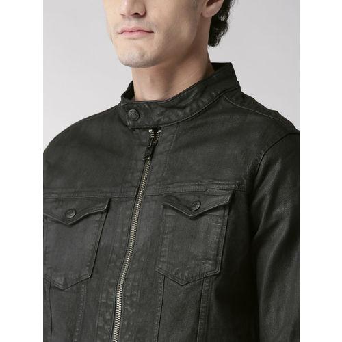 Aeropostale Men Black Solid Denim Jacket